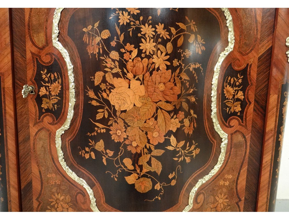 Bronze Inlaid Wood Furniture Caryatids Supporting Marble