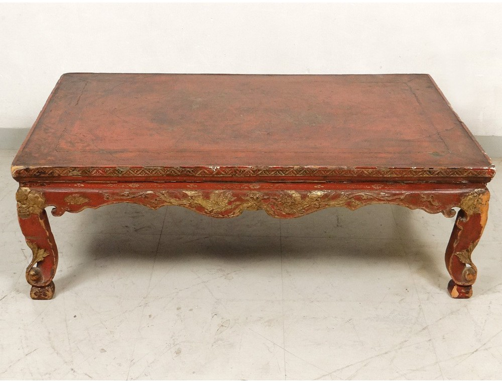 Chinese Coffee Table Lacquered Wood Golden Dragon Phoenix Bird Eighteenth Century