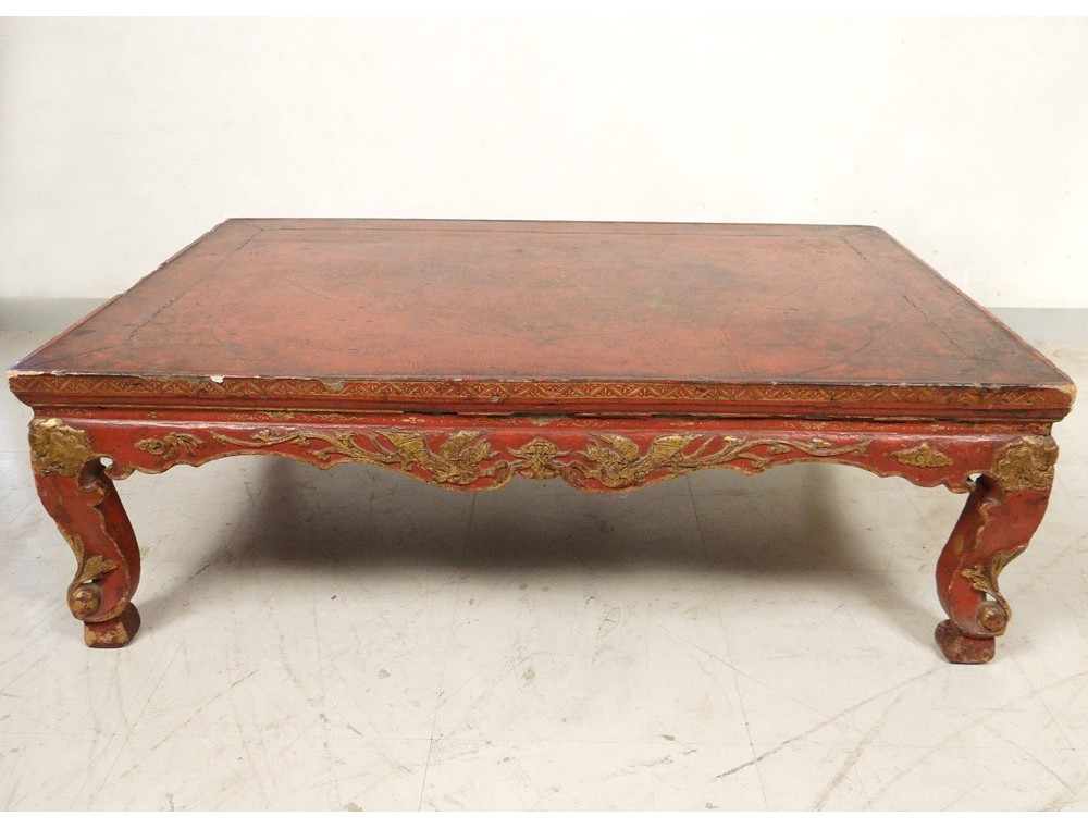 Chinese coffee table lacquered wood golden dragon phoenix