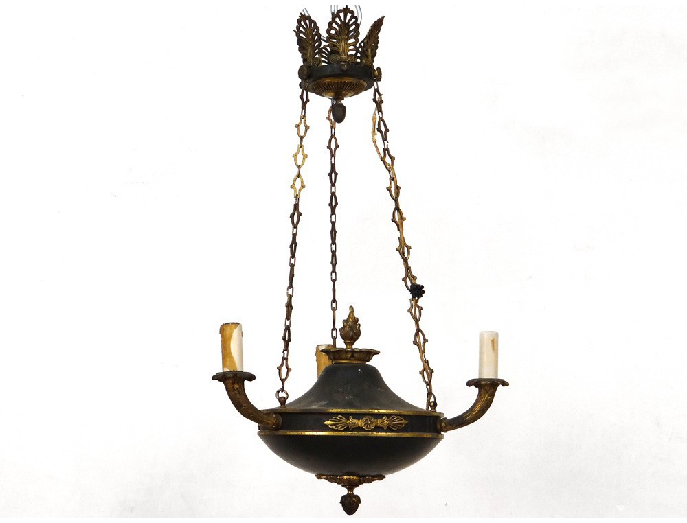 Petit lustre suspension empire t le bronze dor palmettes xx me si cle - Ancien lustre suspension ...