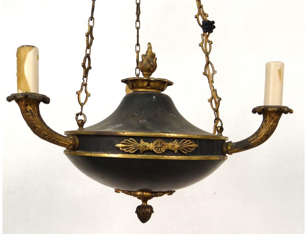 petit lustre suspension empire t le bronze dor palmettes. Black Bedroom Furniture Sets. Home Design Ideas