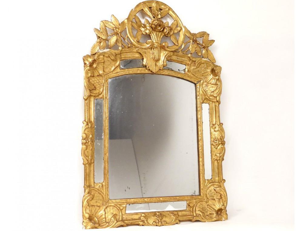 Miroir r gence glace cadre bois sculpt dor fleurs for Miroir antique