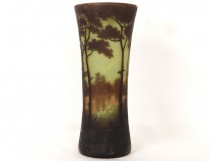 Horn vase glass paste Daum Nancy Art Nouveau landscape pond trees nineteenth