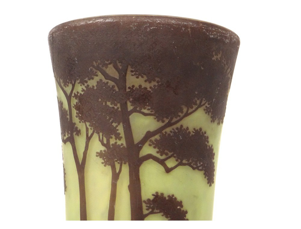 Horn Vase Glass Paste Daum Nancy Art Nouveau Landscape Pond Trees Nineteenth