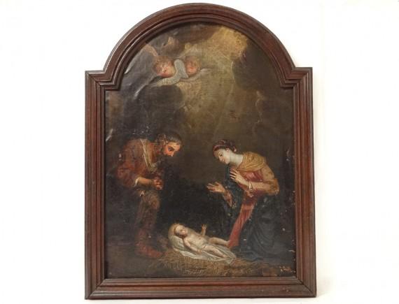 Hst Table Nativity Baby Jesus Mary Joseph Manger Cherubs Xvii 232