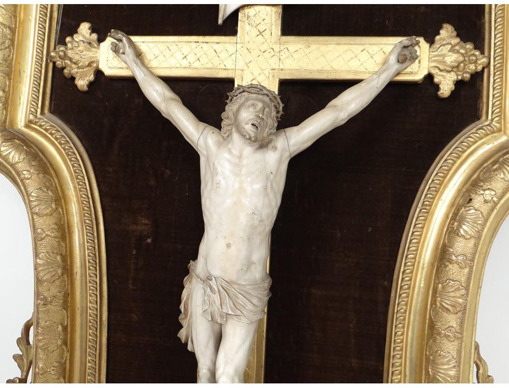 Grand Christ Crucifix Dieppe Ivory Carved Cherubs Part