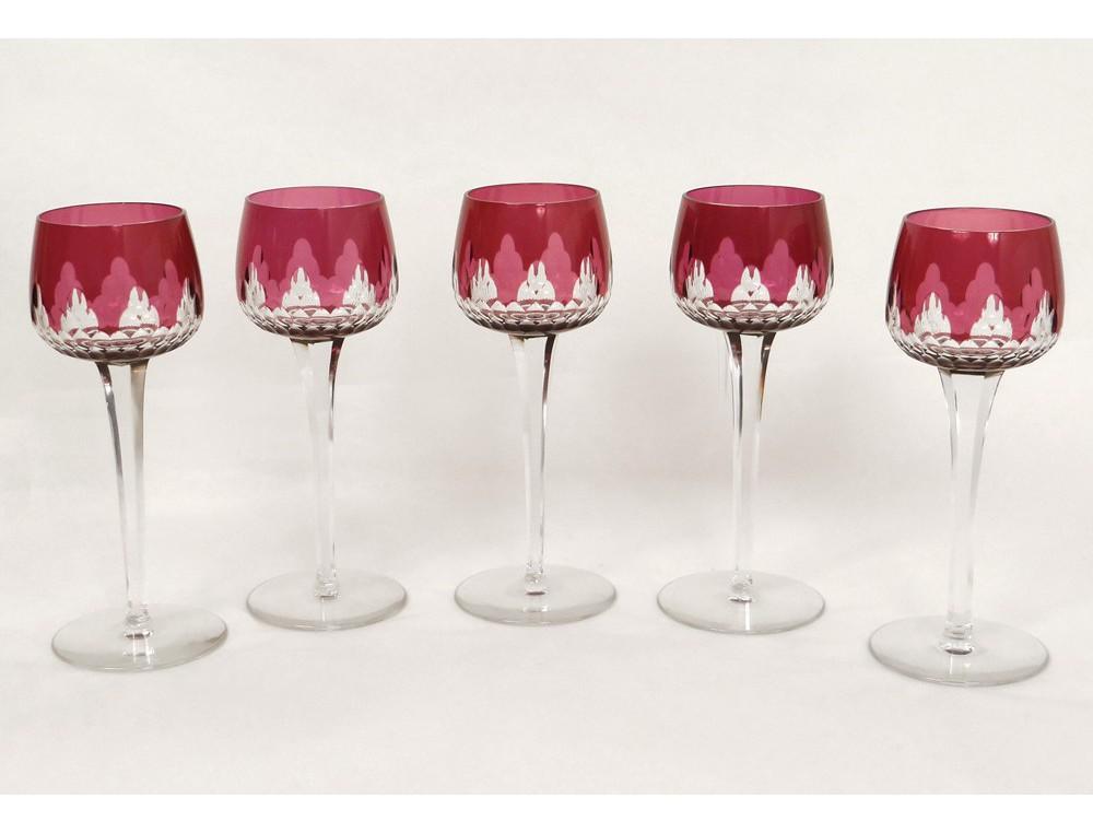 5 wine glasses rhine cut crystal baccarat crystal france twentieth color - Baccarat stemware ...