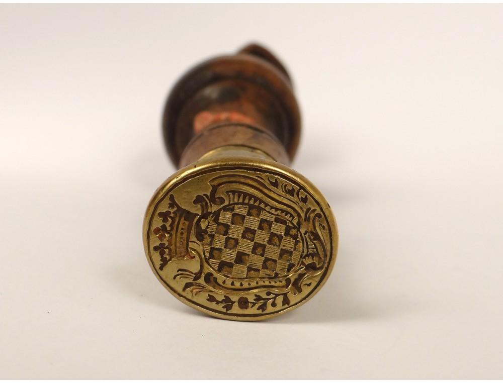 Seal Gold Metal Wood Stamp French Seal Coat Crown Emblem Xix