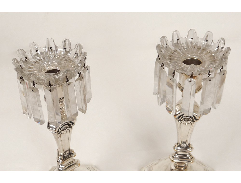 Paire Bob 232 Ches Pampilles Bougeoir Cristal Baccarat France