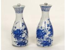 Paire petits vases pots porcelaine chinoise blanc-bleu fleurs Chine XVIIIè