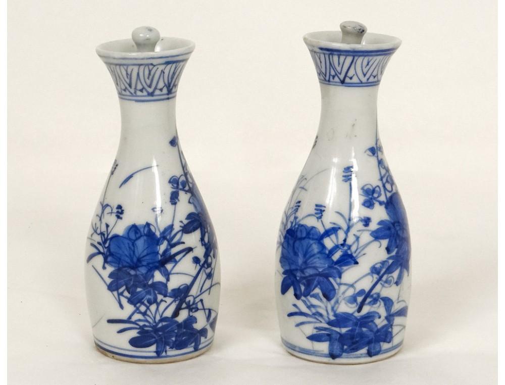 Paire Petits Vases Pots Porcelaine Chinoise Blanc Bleu