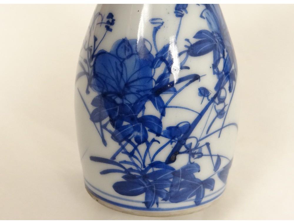 paire petits vases pots porcelaine chinoise blanc bleu fleurs chine xviii. Black Bedroom Furniture Sets. Home Design Ideas