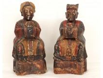 Pair reliquary boxes statues carved characters greeting 19th China