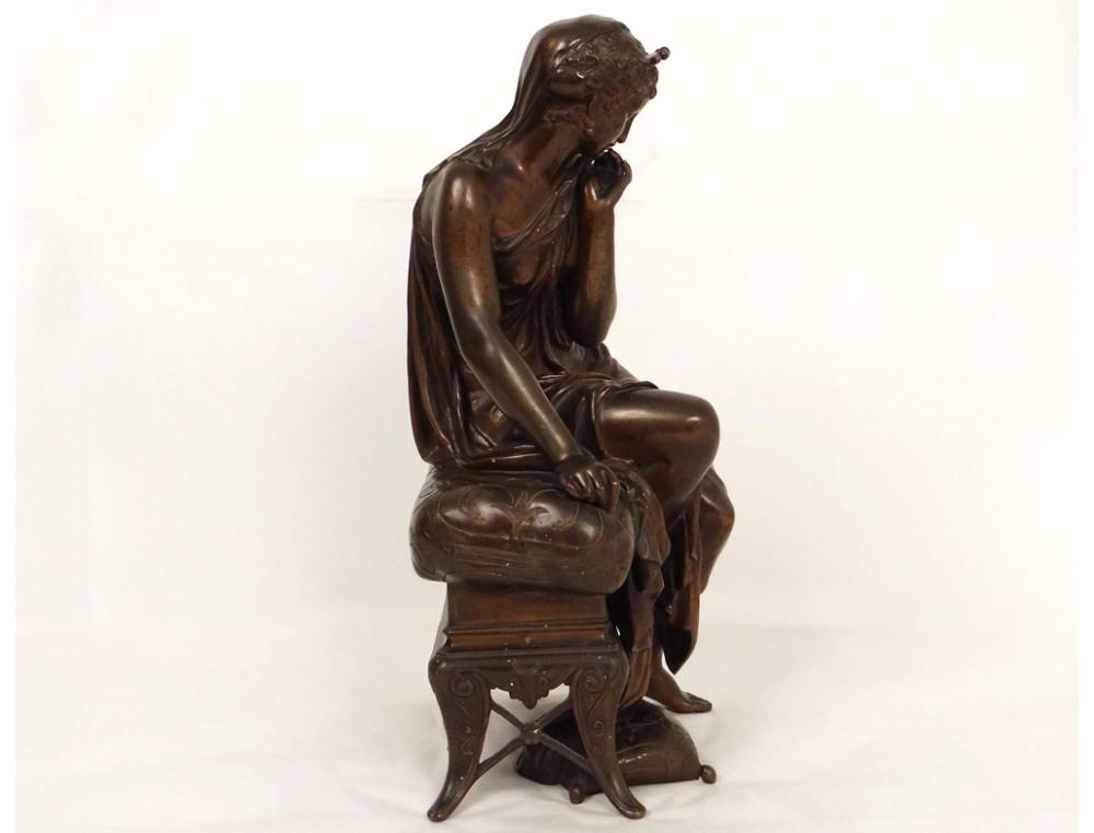 Bronze Sculpture Orientalist Henry Dumaige Woman Seat