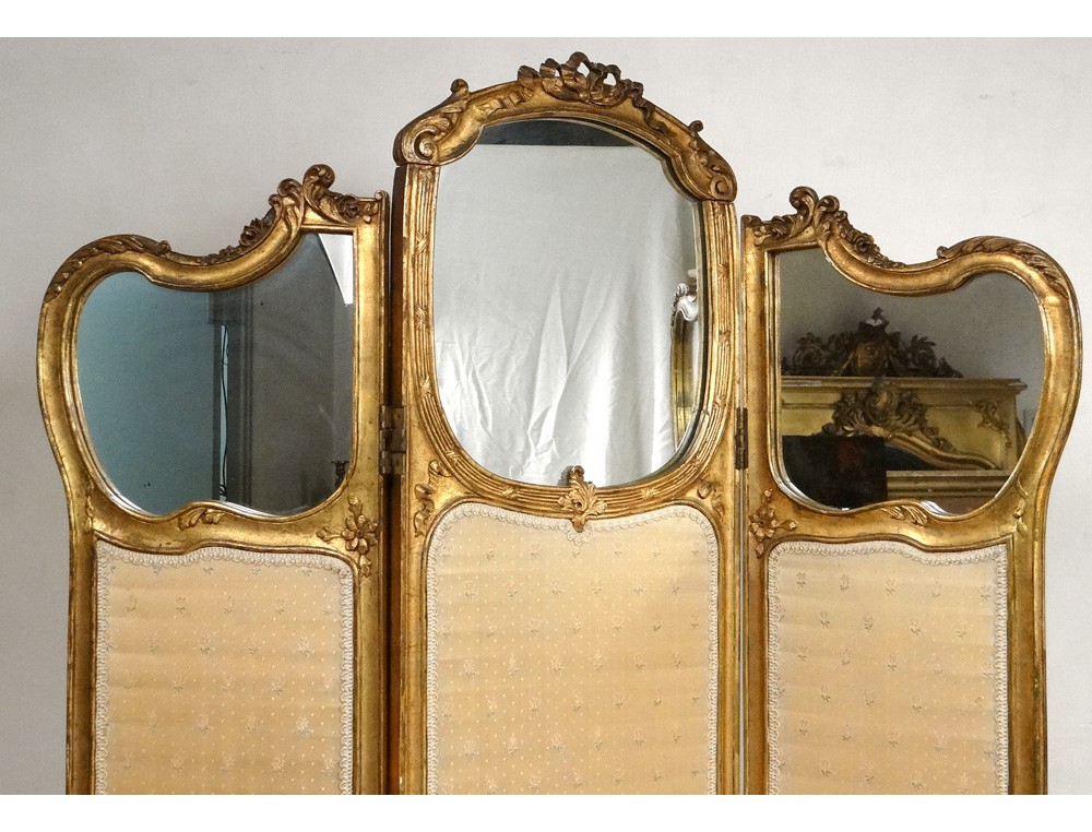 paravent 3 feuilles rocaille louis xv bois sculpt dor napol on iii xix me antiques de laval. Black Bedroom Furniture Sets. Home Design Ideas
