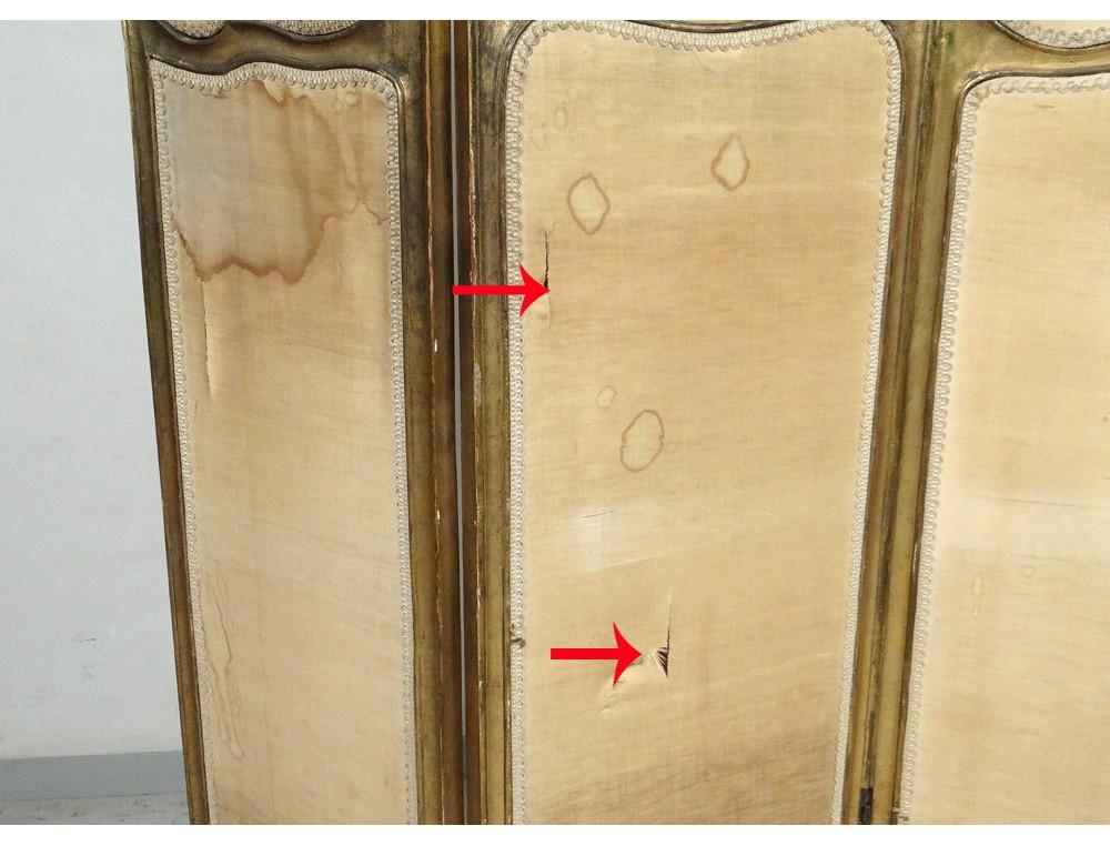 paravent 3 feuilles rocaille louis xv bois sculpt dor. Black Bedroom Furniture Sets. Home Design Ideas