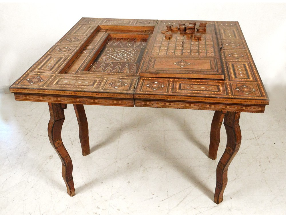 Syrian Game Table Inlaid Mother Of Pearl Intarsia Wood