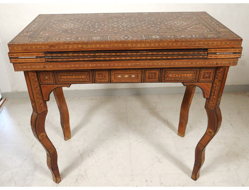Syrian game table inlaid mother of pearl intarsia wood - Table console ancienne ...