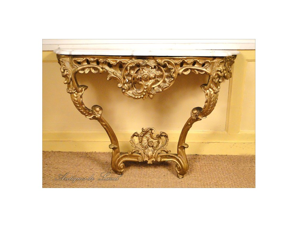 Console Louis XV rococo carved and gilded, 18th
