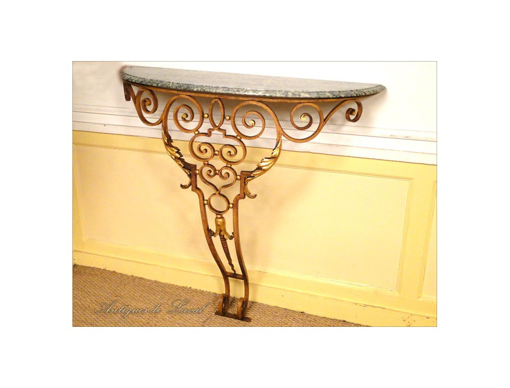 Console art deco wrought iron and marble 1940 for Console murale fer forge