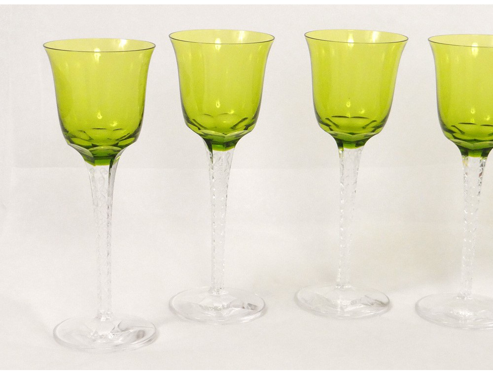 6 verres vin rhin roemer cristal lalique france tr ves chartreuse xx me. Black Bedroom Furniture Sets. Home Design Ideas