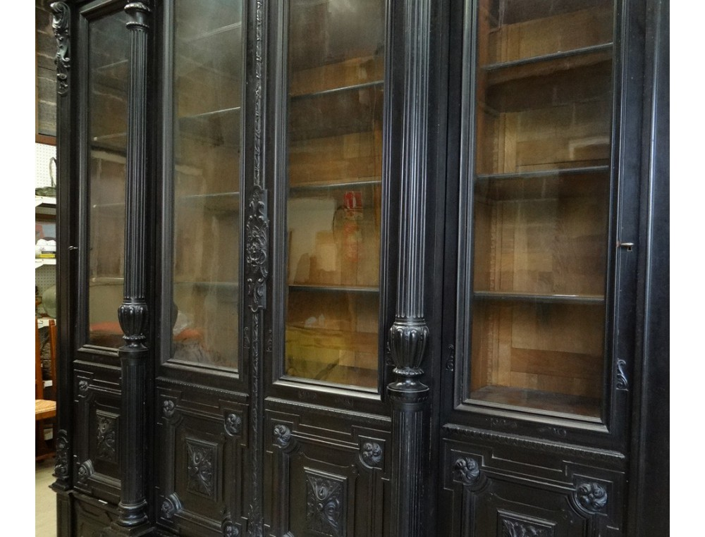Large Wooden Castle Library Window Blackened Columns