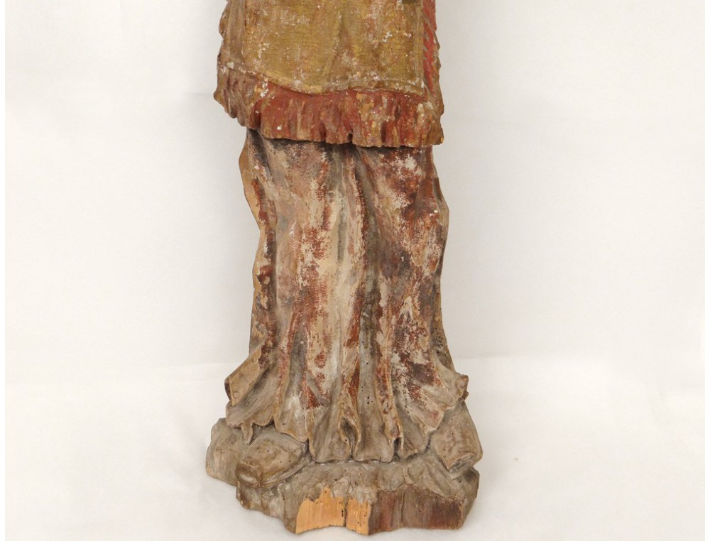 Statue Carved Polychrome Wood Man Monk Character
