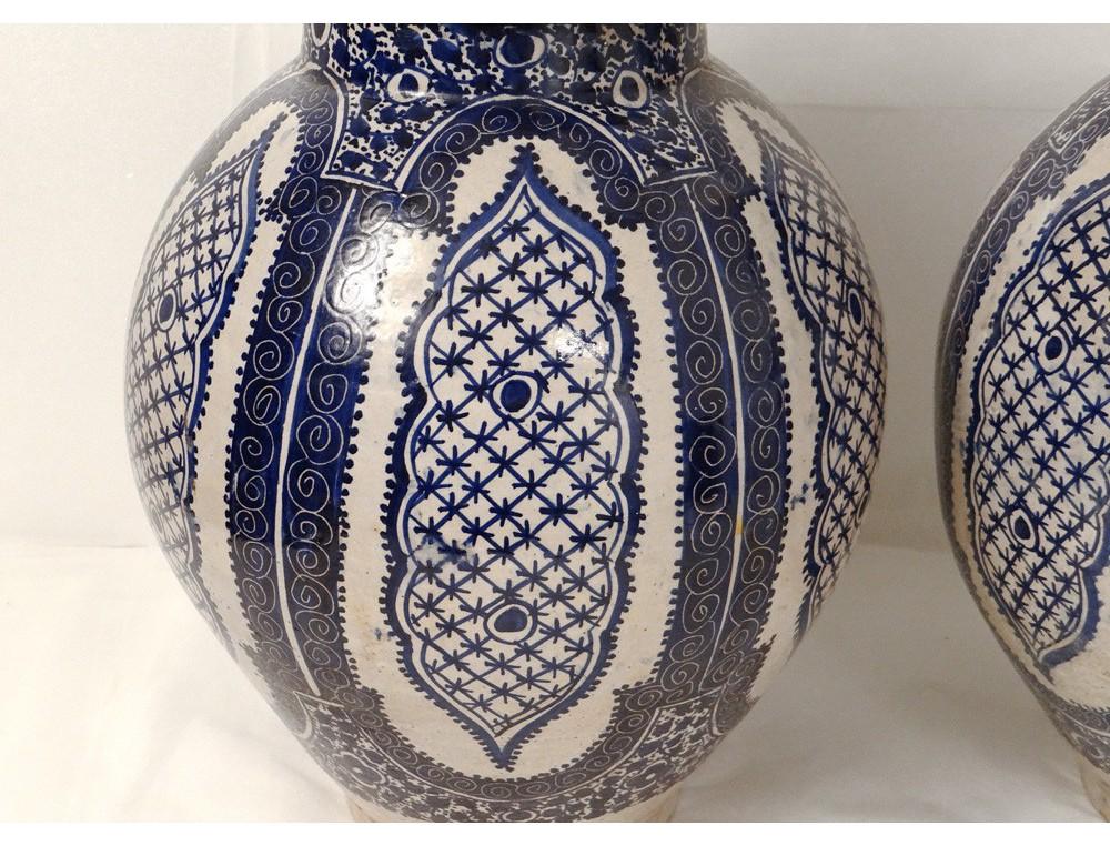 Paire Pots Couverts Fa 239 Ence 233 Maill 233 E Blanc Bleu Maroc F 232 S