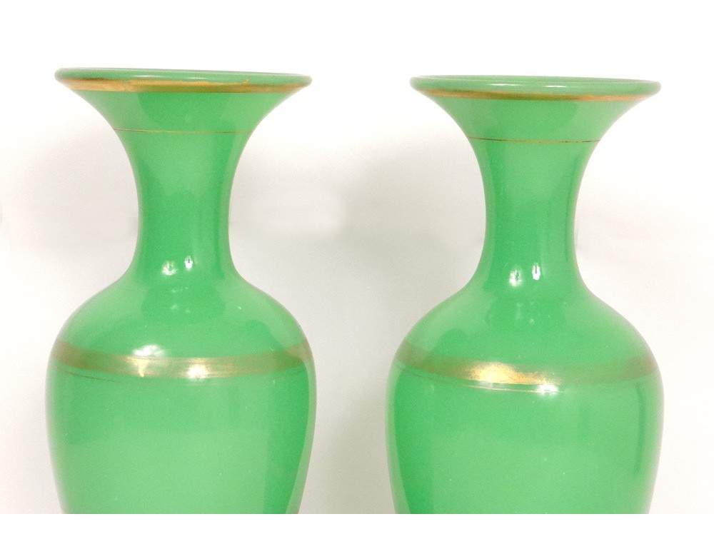 Baluster Vases Pair Opaline Green Gilding Baccarat