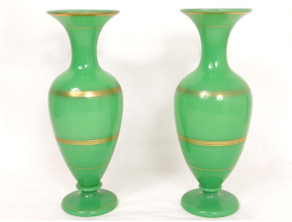 Baluster Vases Pair Opaline Green Gilding Baccarat Napoleon Iii Nineteenth