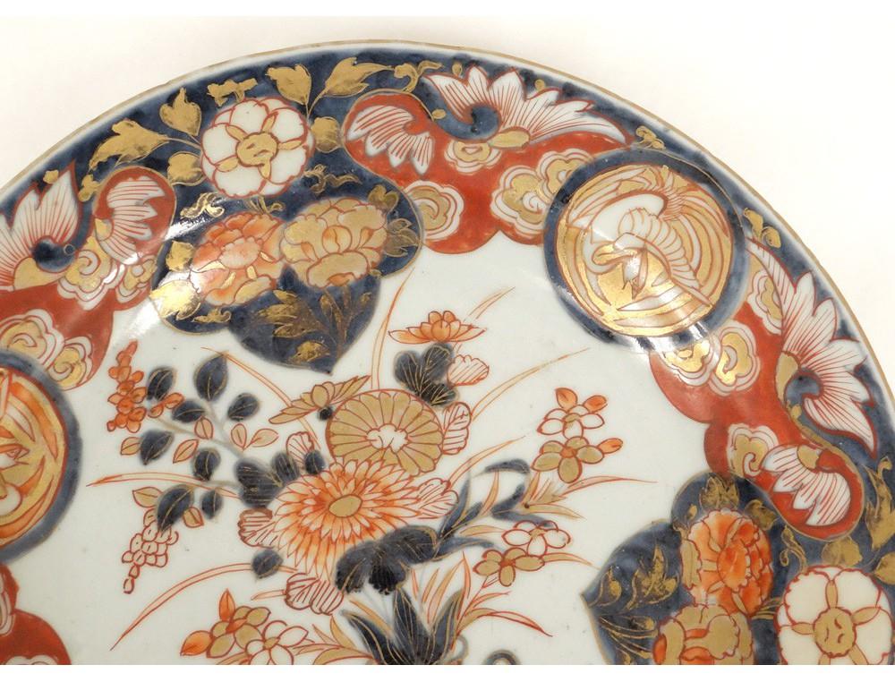 Assiette Plat Porcelaine Imari Japon Vase Fleurs Oiseaux