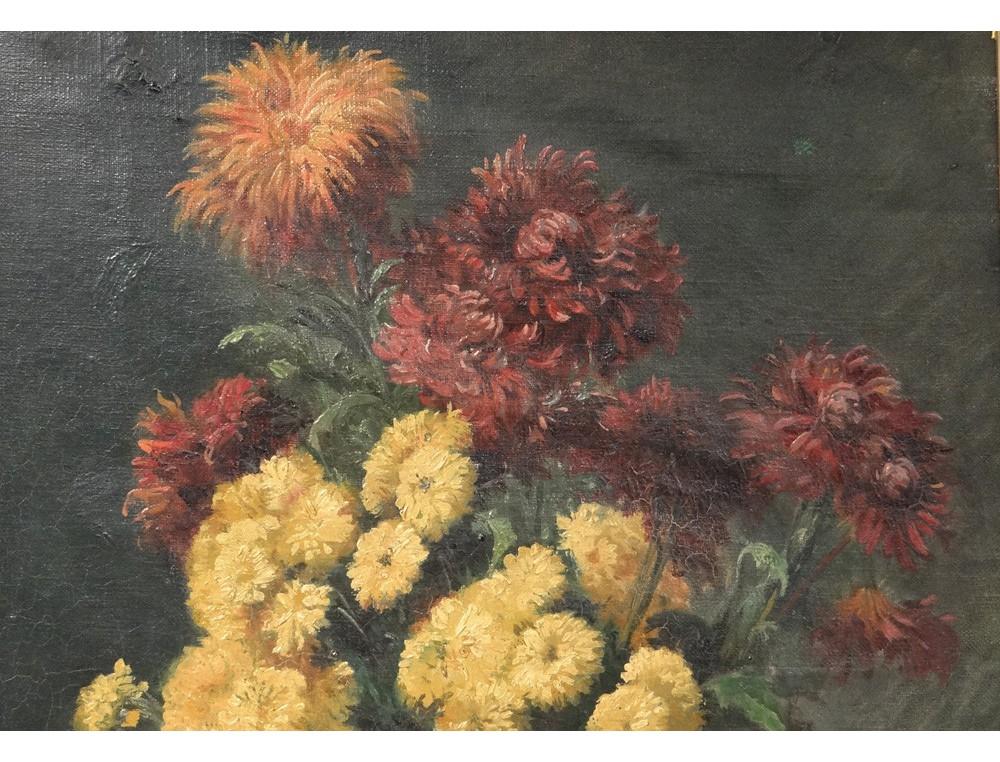 Hst Tableau Bouquet Fleurs Chrysanth 232 Mes Nature Morte