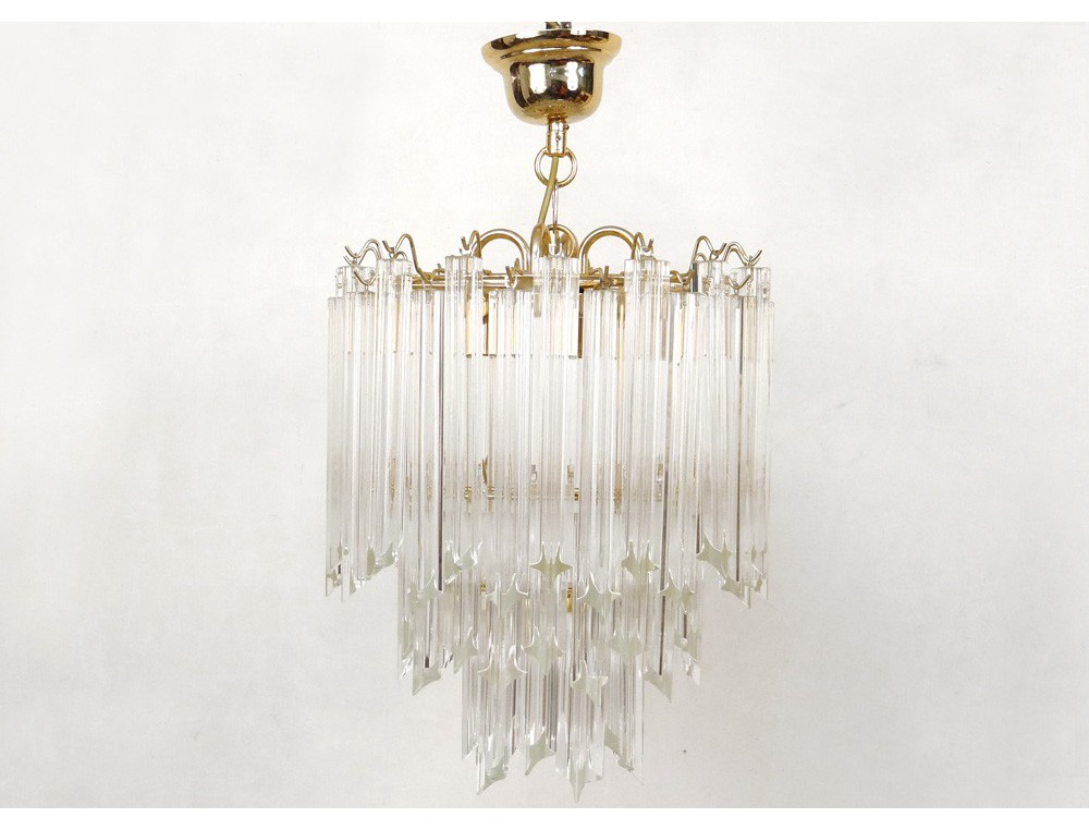 Suspension chandelier vintage gold metal crystal glass knives twentieth century