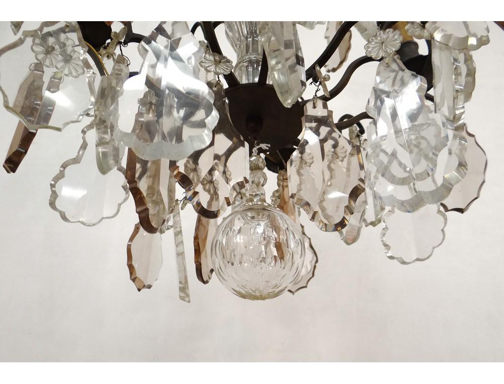 Lustre pampilles 6 feux bronze dor cristal taill fleurs xix me si cle - Lustre pampilles cristal ...