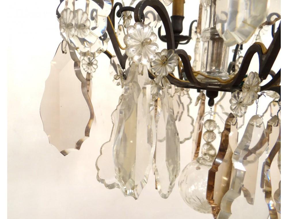 lustre a pampilles 6 feux bronze dore cristal taille fleurs xixeme siecle 10 Merveilleux Lustre à Pampilles Kjs7