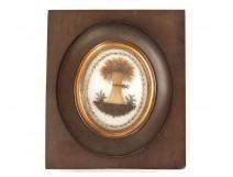 Miniature travail de cheveux gerbe blé souvenir feuillage XIXème siècle