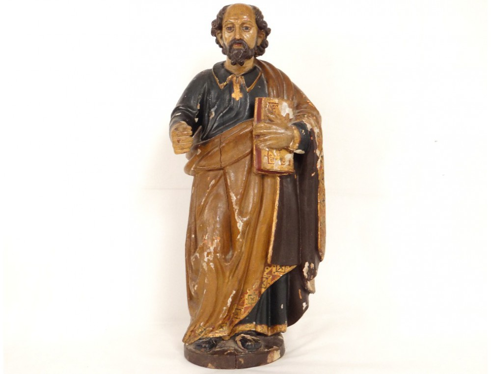 sculpture statue bois polychrome saint pierre bible glise xviii me si cle. Black Bedroom Furniture Sets. Home Design Ideas