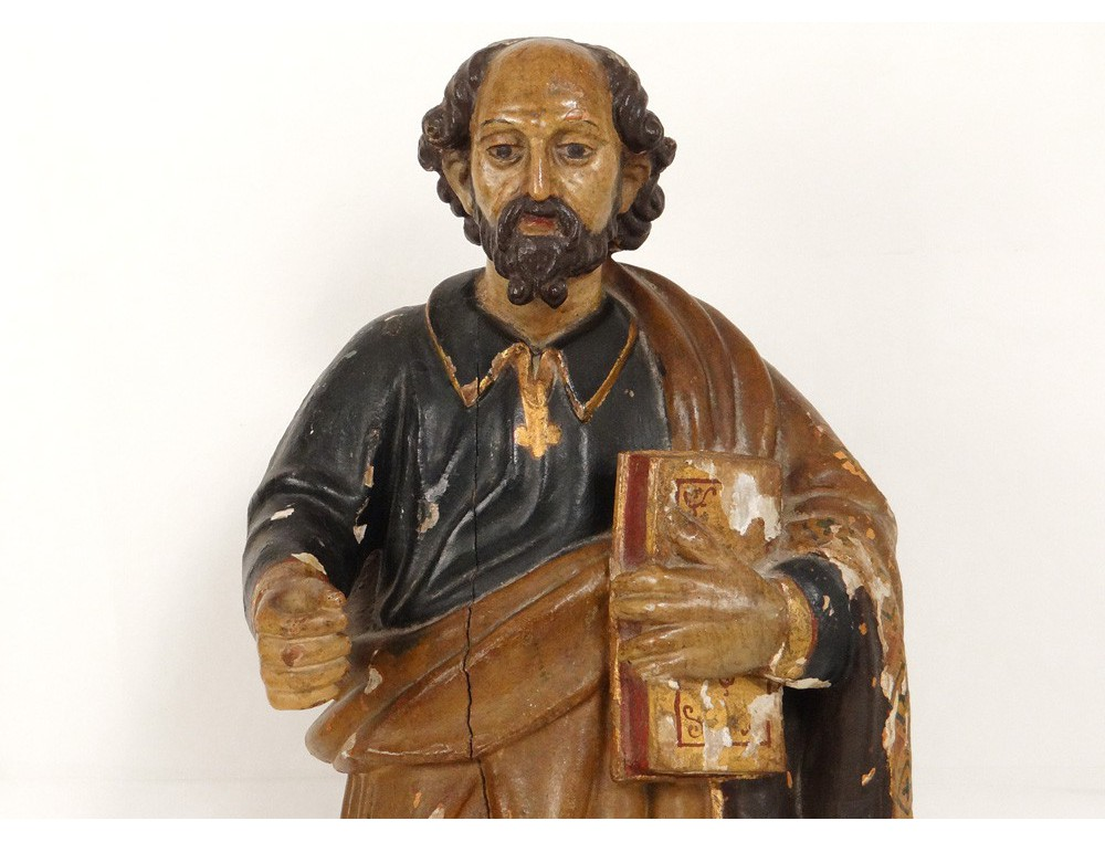 Sculpture Statue Bois Polychrome Saint Pierre Bible 233 Glise