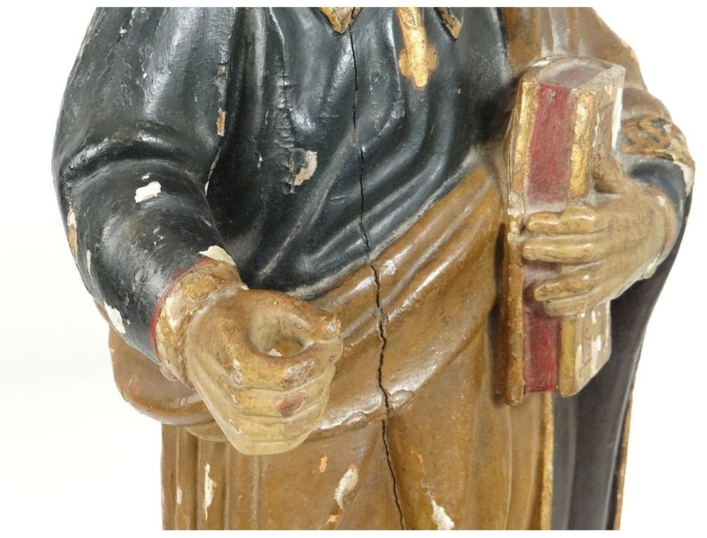 Sculpture Statue Bois Polychrome Saint Pierre Bible 233 Glise