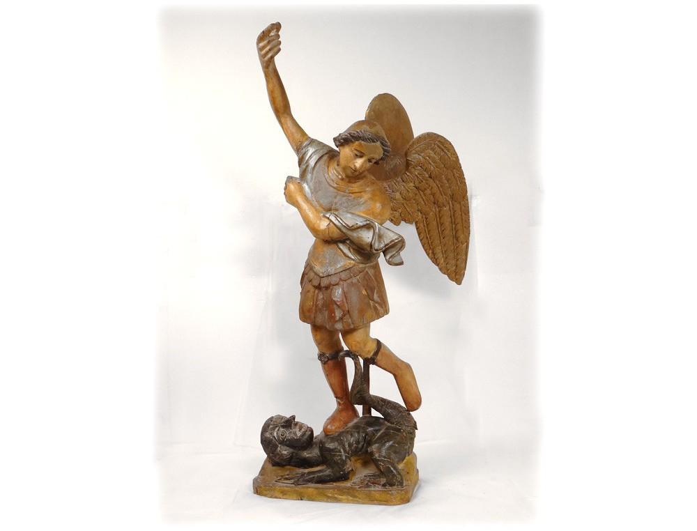 Sculpture En Bois A Vendre - Statue sculpture Saint Michel bois polychrome doré archange dragon XVII u00e8me