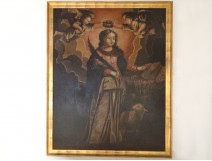 Great table HST religious Saint Agnes of Rome lamb cherubs XIX