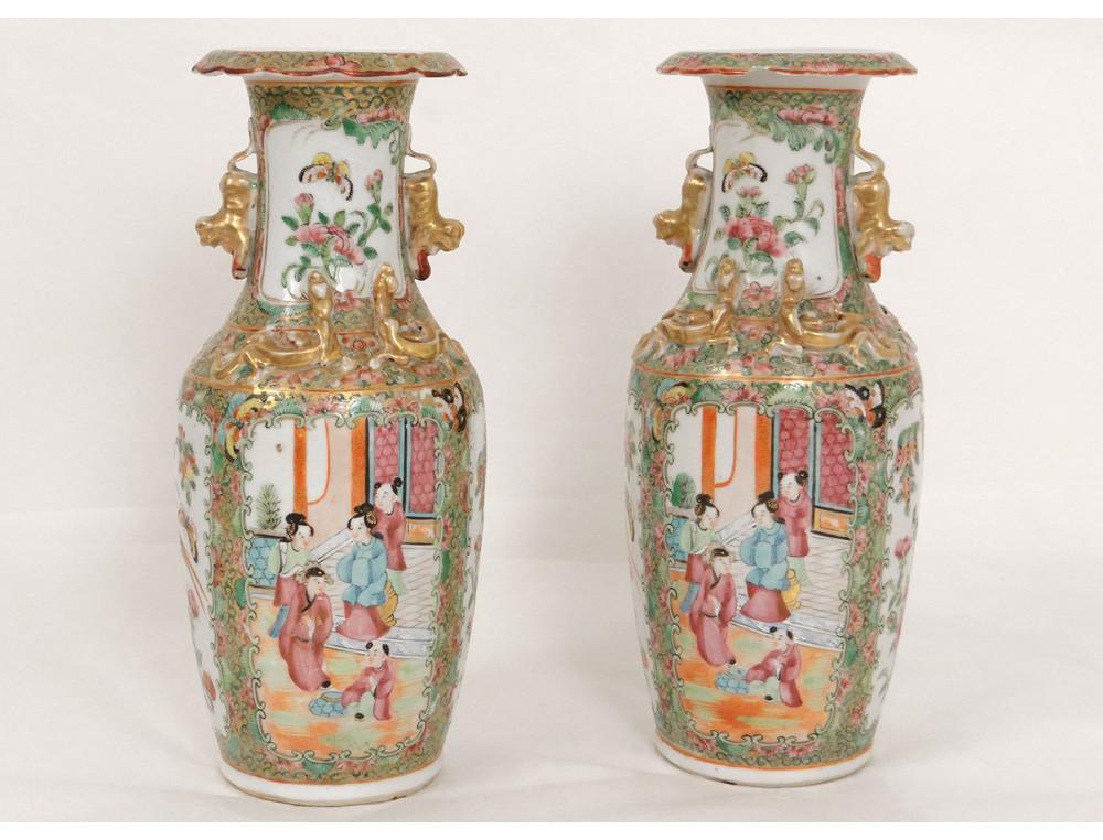 paire-vases-porcelaine-canton-chine-personnages-femmes-dragons-oiseaux-xixe