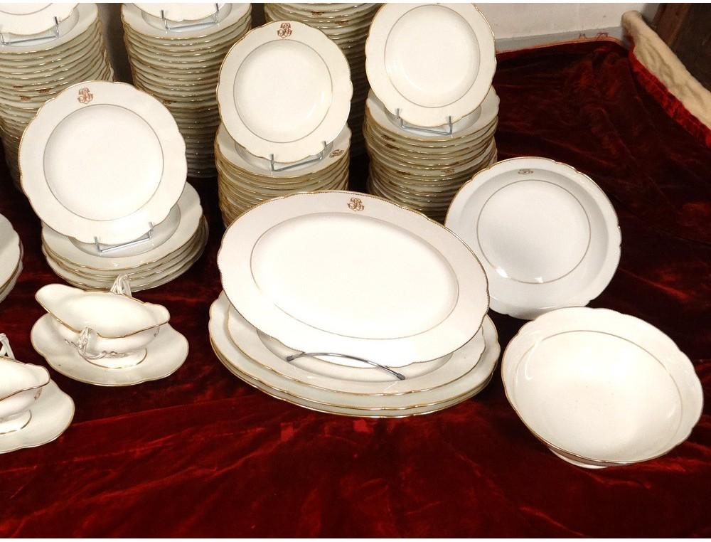 Service vaisselle table 180 pi ces porcelaine paris - Porcelaine de table ...