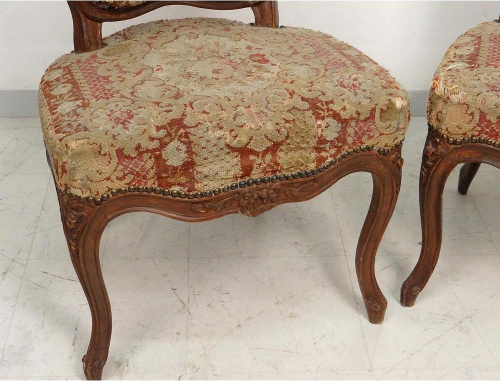 paire chaises louis xv bois sculpt fleurs estampille. Black Bedroom Furniture Sets. Home Design Ideas