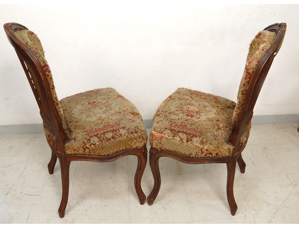 paire chaises louis xv bois sculpt 233 fleurs estille delaporte xviii 232 me