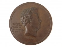 Medal Bronze bas-relief plaque portrait Victor Black Demay 1870 XIX