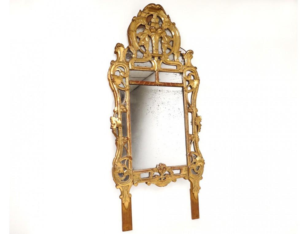 Miroir r gence glace cadre bois sculpt dor fleurs fruits for Miroir antique