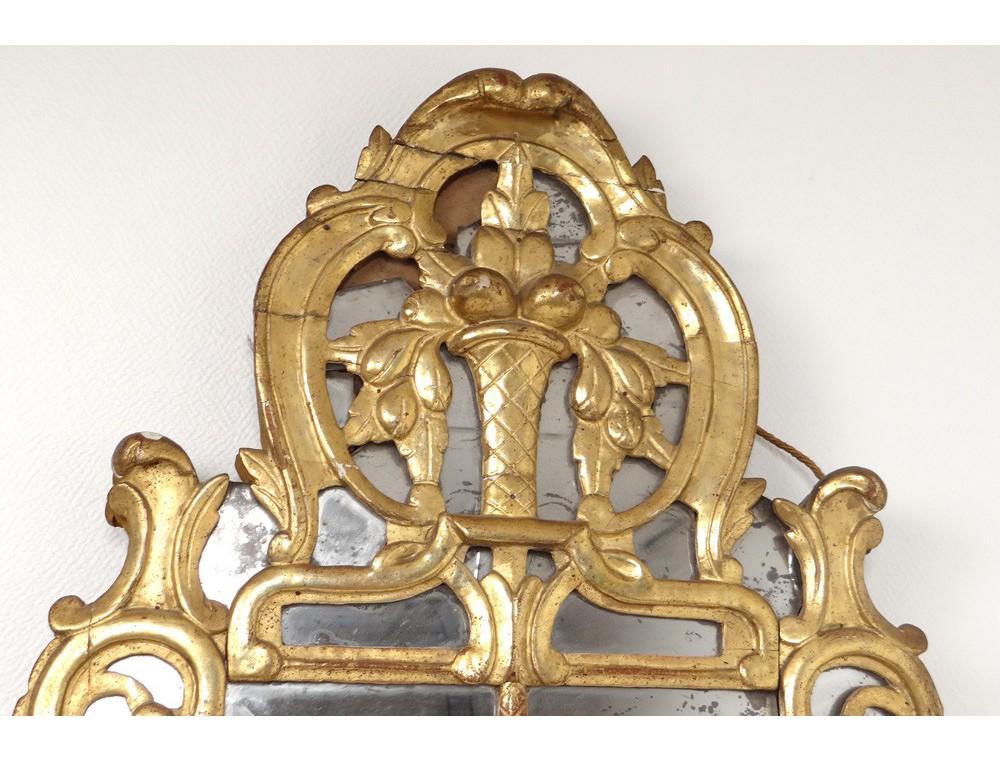 Miroir r gence glace cadre bois sculpt dor fleurs fruits for Miroir cadre dore