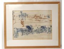 Drawing blood orientalist caravan characters palm desert XXth
