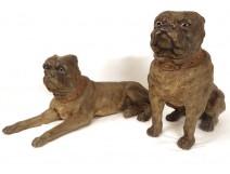 Exceptional torque sculptures English mastiffs dogs earthenware XIX